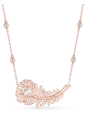 Boucheron 18kt rose gold diamond Plume de Paon pendant necklace - Pink
