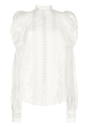 Acler broderie-trimmed lace blouse - White