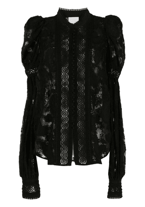 Acler broderie-trimmed lace blouse - Black