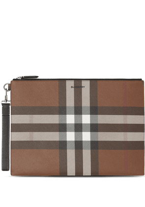Burberry large check-pattern pouch - Brown