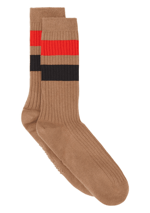 Burberry stripe-detail socks - Brown