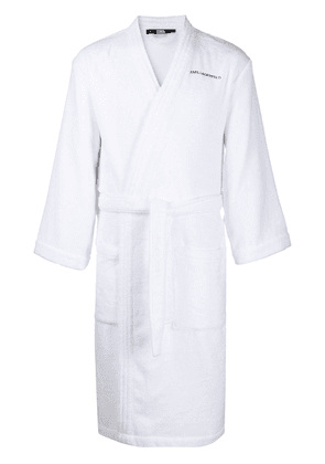 Karl Lagerfeld logo bath robe - White