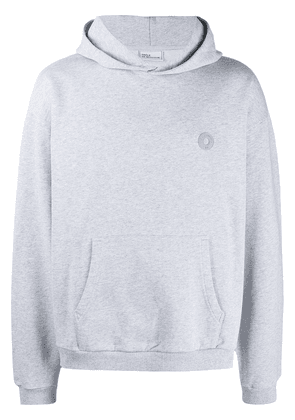 Drôle De Monsieur logo-patch cotton hoodie - Grey
