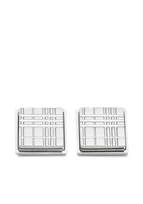 Burberry check-engraved square cufflinks - Silver