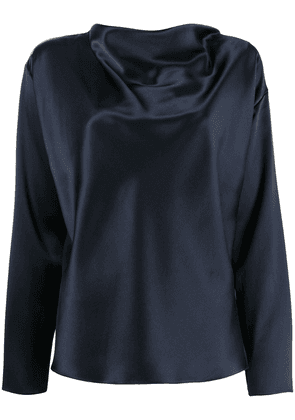 Adam Lippes cowl neck charmeuse blouse - Blue