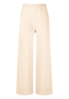 Allude high-rise flared knitted trousers - Neutrals