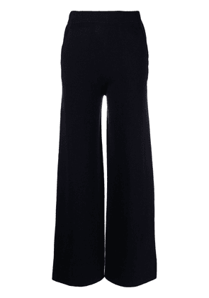 Allude high-rise flared knitted trousers - Blue