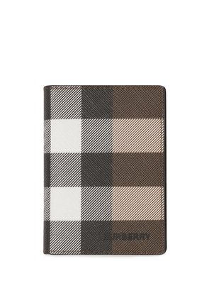 Burberry check-print faux leather card case - Brown