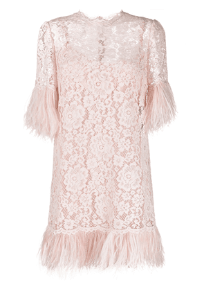 Dolce & Gabbana feather-embellished lace dress - PINK
