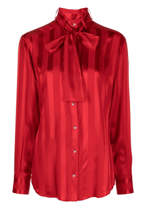 Dolce & Gabbana striped pussybow-embellished blouse - Red