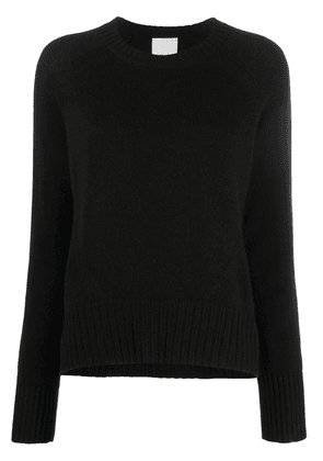 Allude ribbed-knit edge round neck jumper - Black