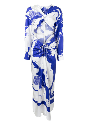 Christopher Esber graphic-print ruched maxi dress - Blue