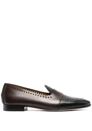 Edhen Milano perforated-detail leather loafers - Black