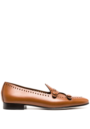 Edhen Milano perforated detail loafers - Brown