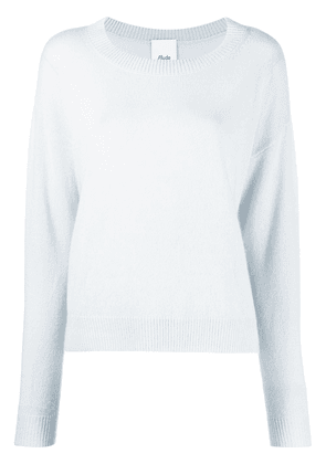 Allude round neck ribbed-knit edge jumper - Blue