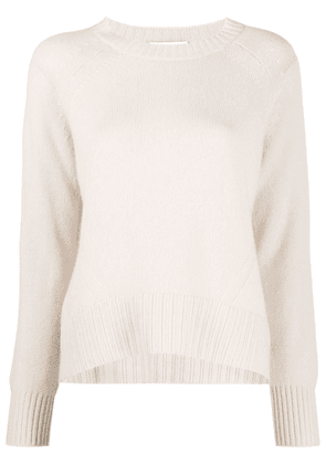 Allude ribbed-knit edge round neck jumper - Neutrals