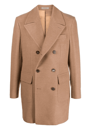 Corneliani knitted double-breasted coat - Brown