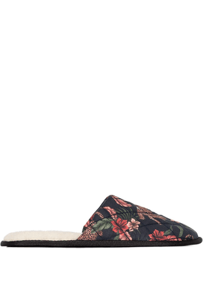 Desmond & Dempsey jungle print slippers - Black