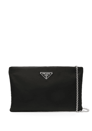 Prada logo plaque zipped clutch bag - Black