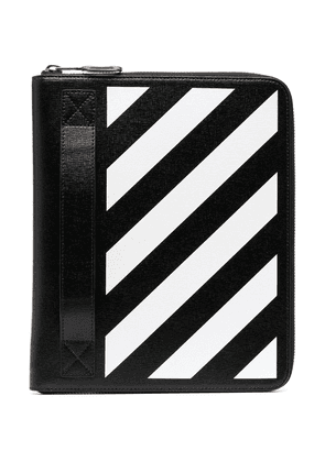 Off-White striped leather clutch bag - Black