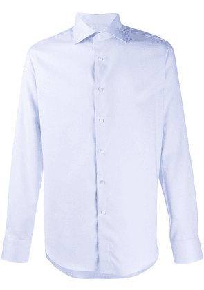 Canali tailored long-sleeved cotton shirt - Blue
