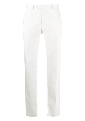 Canali pressed crease detail chinos - White