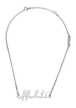 Off-White logo-lettering necklace - Silver
