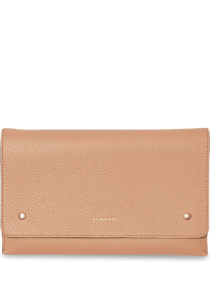 Burberry Two-tone Leather Wristlet Clutch - Neutrals