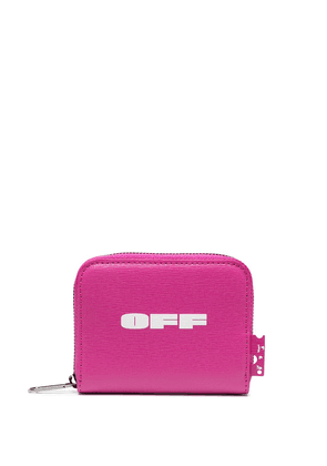 Off-White small logo print zipped wallet - PINK