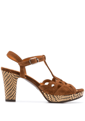 Chie Mihara patterned cut-out detail sandals - Brown