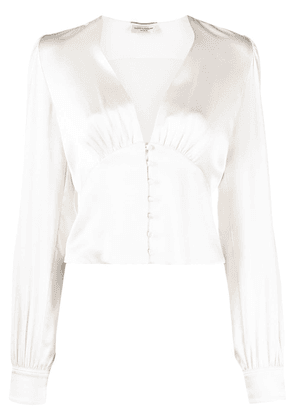 Saint Laurent V-neck silk blouse - Neutrals