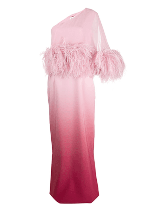 16Arlington feathered trim evening gown - PINK