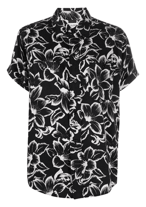 Saint Laurent floral print short-sleeve shirt - Black