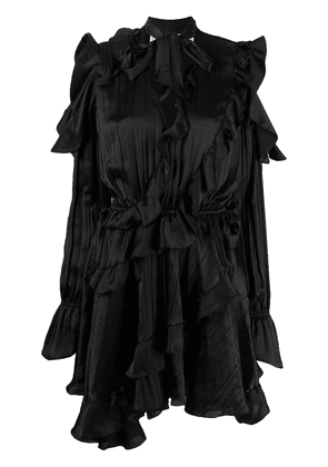 Off-White creased ruffled cocktail dress - Black