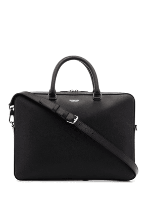 Burberry logo-embossed leather briefcase - Black