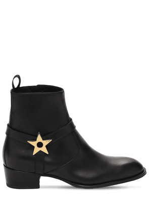 40mm Metal Star Leather Ankle Boots