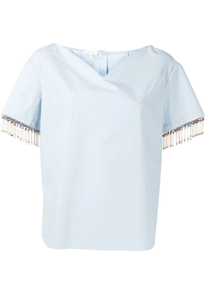 Delpozo bead-fringed shirt with sweetheart neckline - Blue