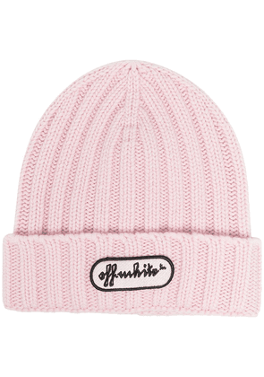 Off-White ribbed logo beanie - PINK