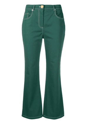 Boutique Moschino cropped flared trousers - Green