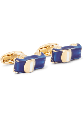 PAUL SMITH - Gold-Tone and Enamel Cufflinks - Men - Blue