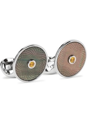 DEAKIN & FRANCIS - Sterling Silver, Mother-of-Pearl and Sapphire Cufflinks - Men - Silver