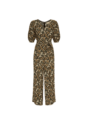 Traffic People Hetty V-neck Wide Leg Jumpsuit In Floral Print