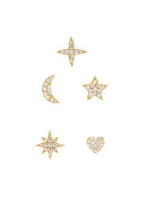 FALLON Essentials Pavé Crystal-embellished Stud Earrings - Set Of Five