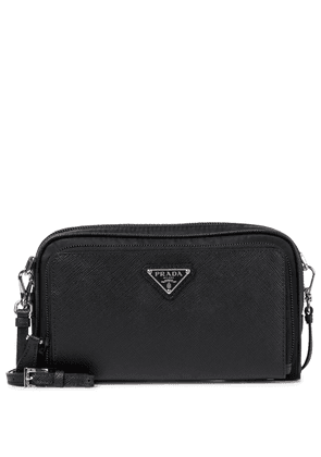 Nylon and leather crossbody bag