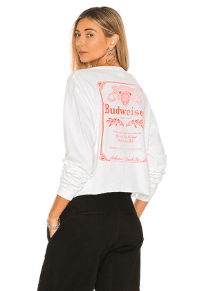Junk Food Budweiser Long Sleeve Crew Tee in White. Size M, S, XL, XS.