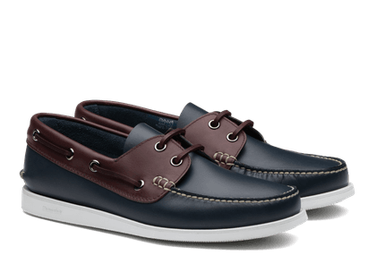 Church's Antic Calf Leather Boat Shoe Man Blue & Burgundy Size 12
