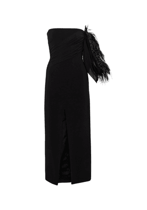 Feather-trimmed cady midi dress
