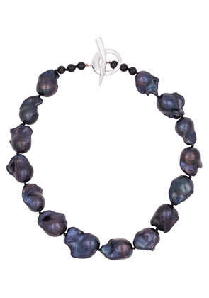 Baroque black pearl and sterling silver necklace