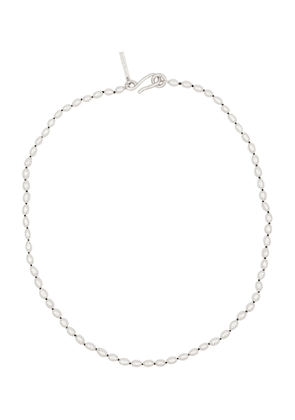 Tiny pearl and sterling silver necklace