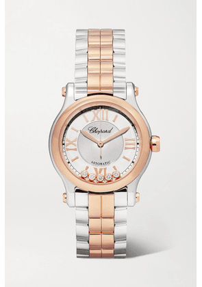 Chopard - Happy Sport Automatic 30mm 18-karat Rose Gold, Stainless Steel And Diamond Watch - Silver